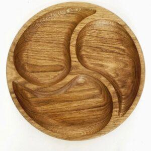Дошка кругла (менажниця) для сиру з масиву дуба